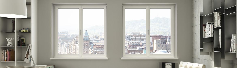 Fenêtres 2 vantaux en PVC à haute isolation thermique dans un salon