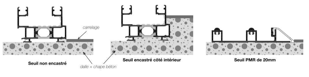 Les différents seuils alu et leur encastrement